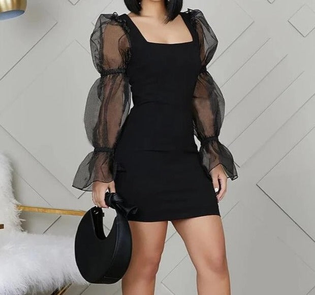 Square Neck Puff Sleeve Mini Dress