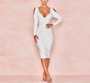 Long Sleeve Bodycon Bandage Hollow Out Dress - LEPITON