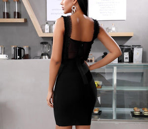 Lace Ruffles Sheath Bandage Dress