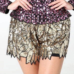 Sequin Wide-Leg Casual Shorts