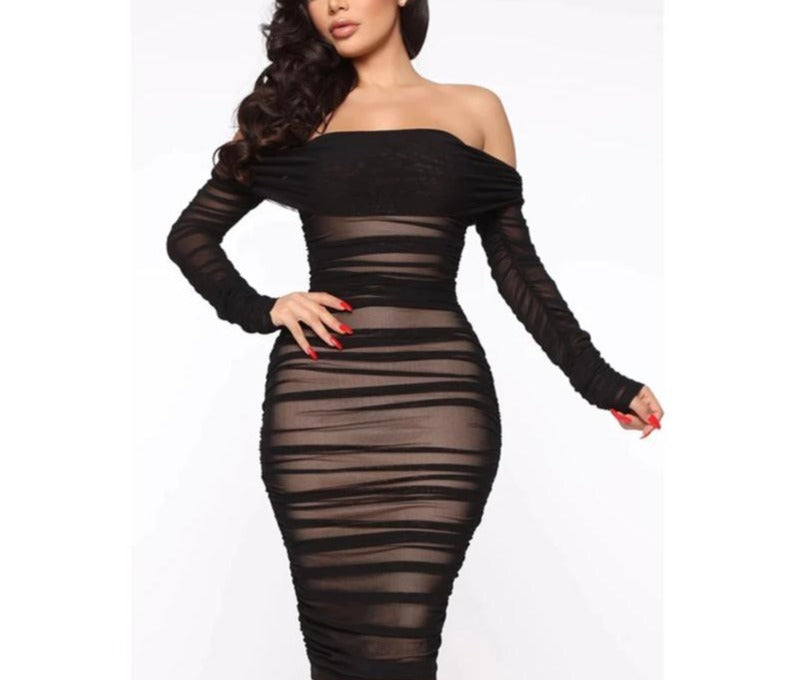 Mesh Slash Neck Folds Bodycon Dress