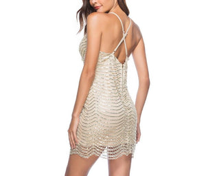 V-Neck Sequins Bodycon Wrap Dress - LEPITON