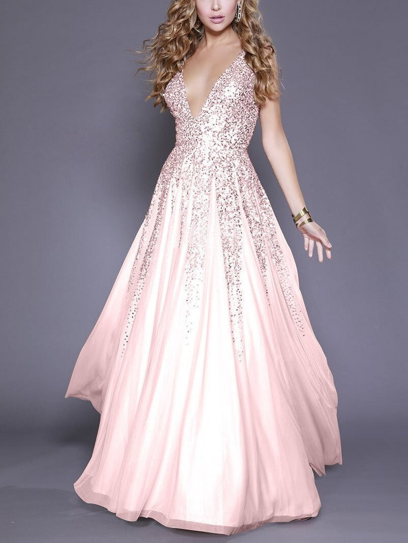 Elegant Sequins Long Dress