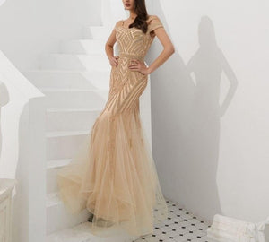 Handmade Golden Tulle Crystal Mermaid Gown