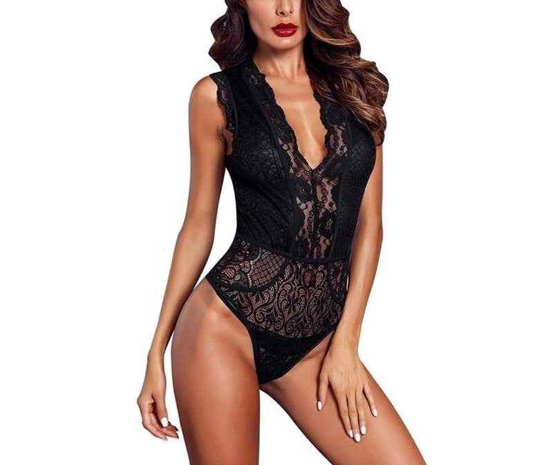Sheer Floral Lace V-Neck Hollow Out Sleeveless Bodysuit