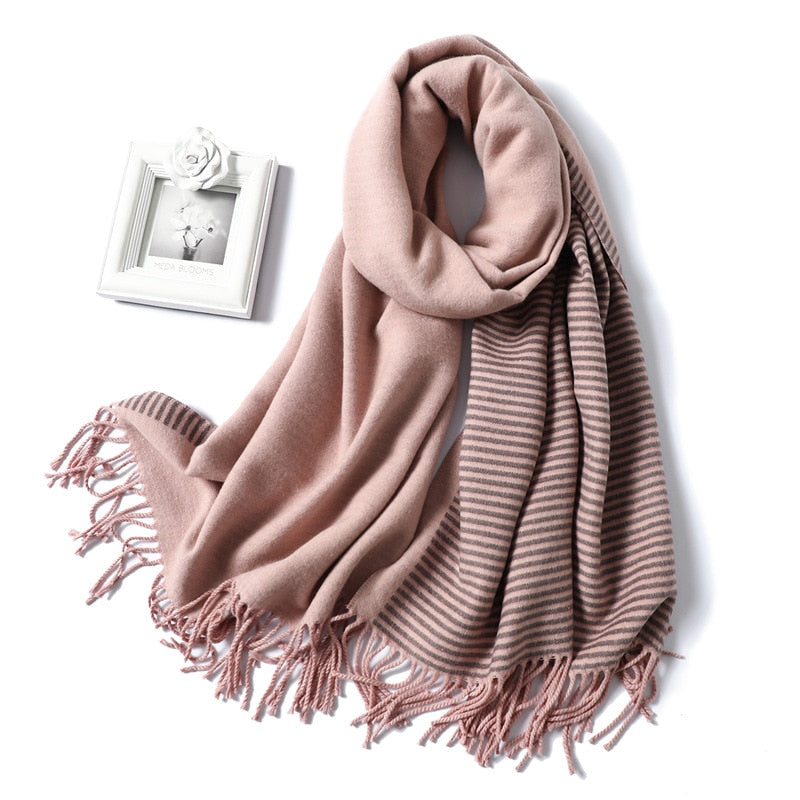 Striped Cashmere Thick Neck Foulard Scarf