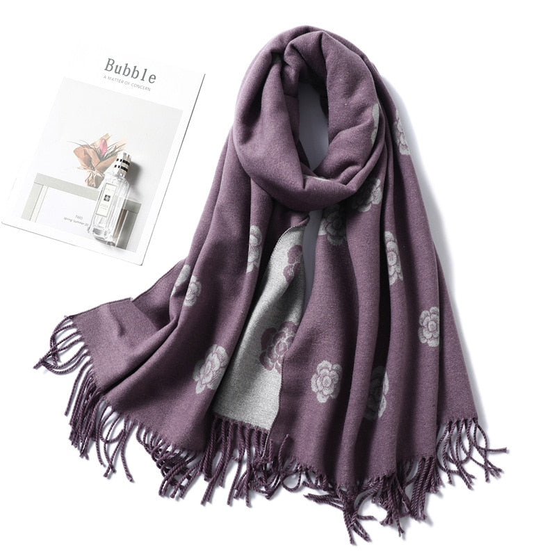 Two-Sides Cashmere Floral Scarf