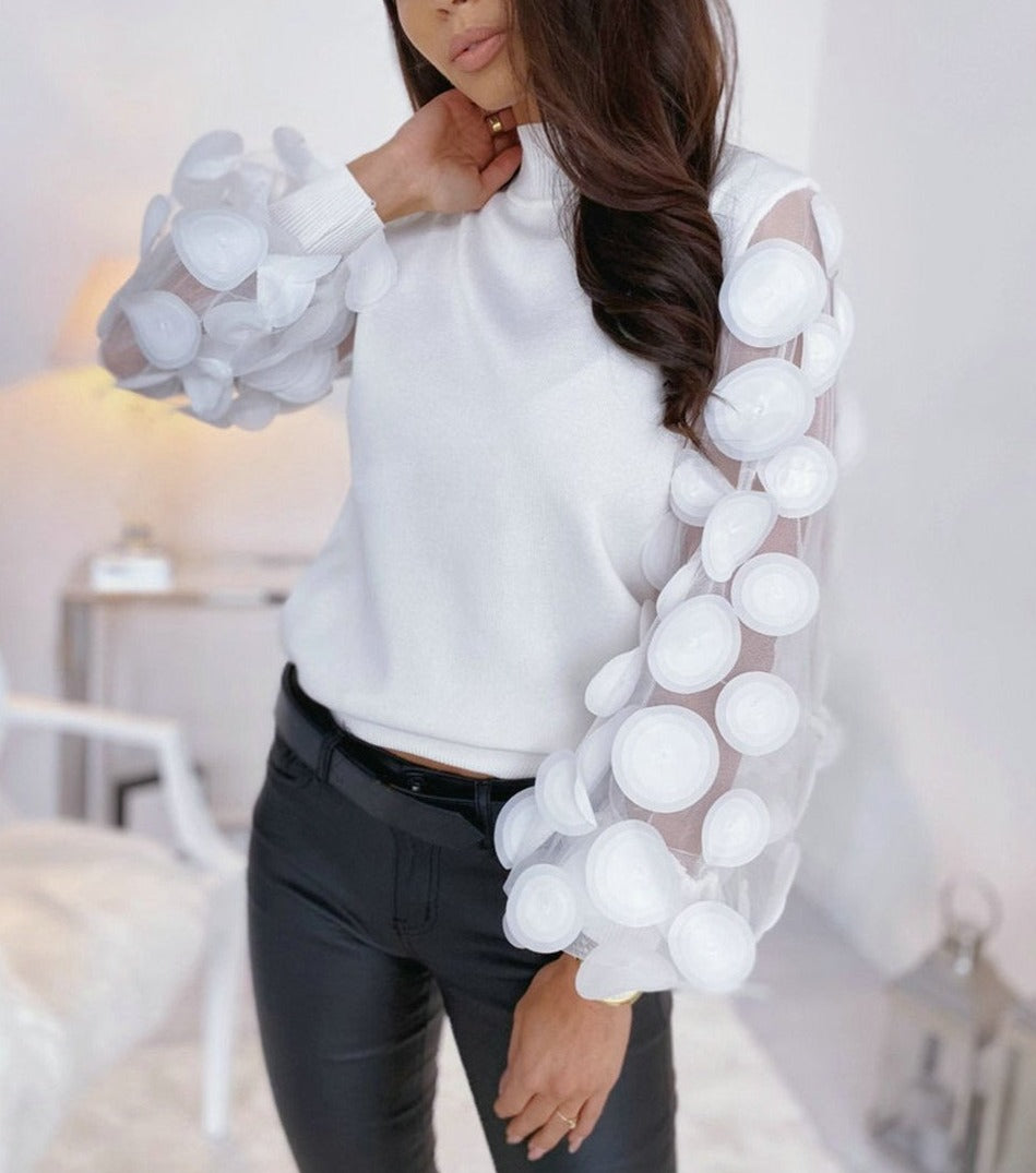 Puff Sleeve Lace Decor See-Through Top