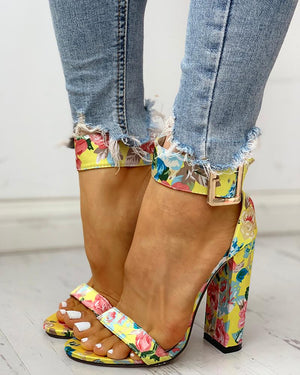 Open-Toe Ankle-Buckled Chunky-Heeled Shoes - LEPITON