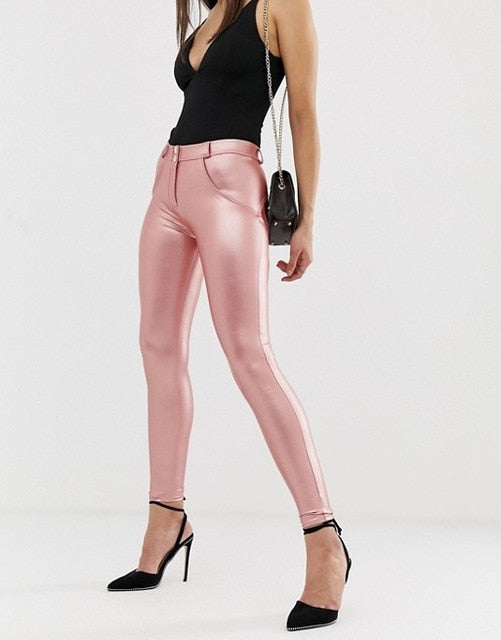 Faux Leather Winter Mid-Waist Long Pants