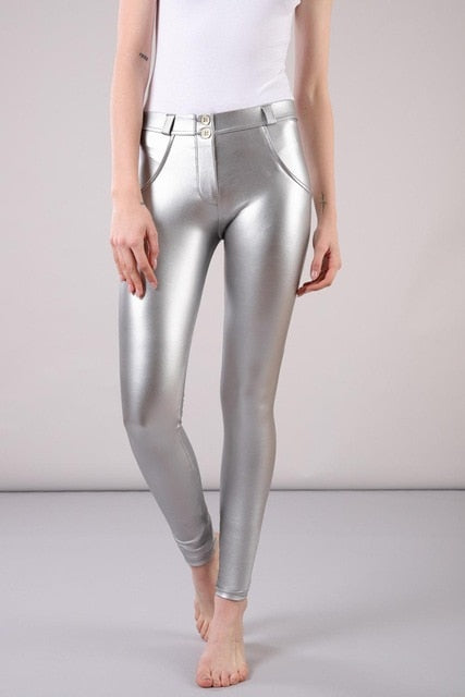 Faux Leather Winter Mid-Waist Long Pants - LEPITON