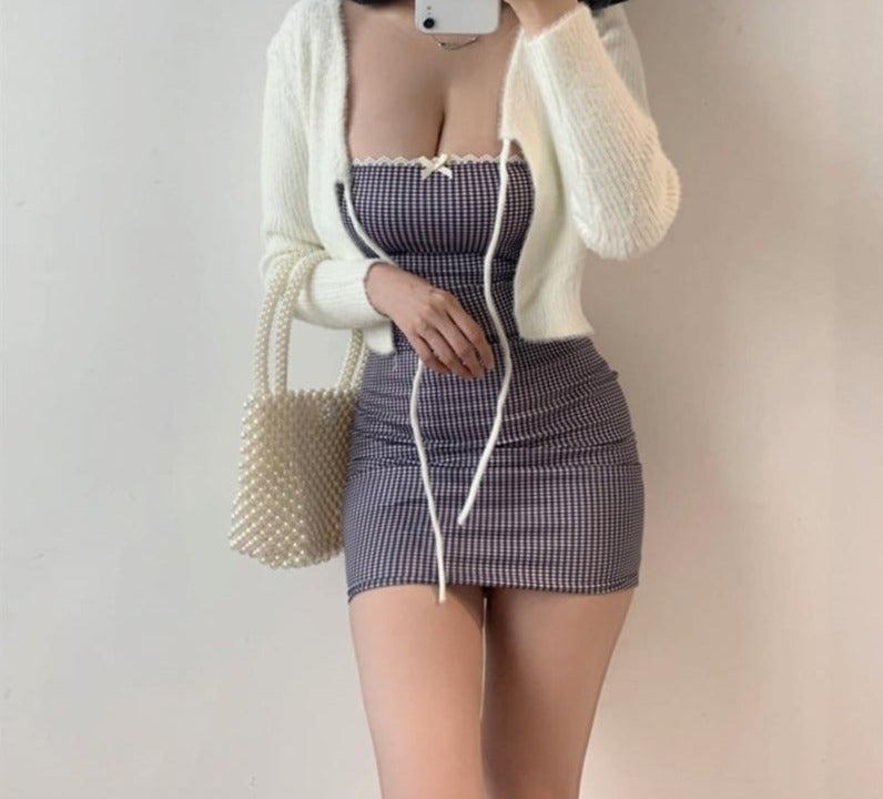 Off-Shoulder Sleeveless Retro Bow Bodycon Mini Dress