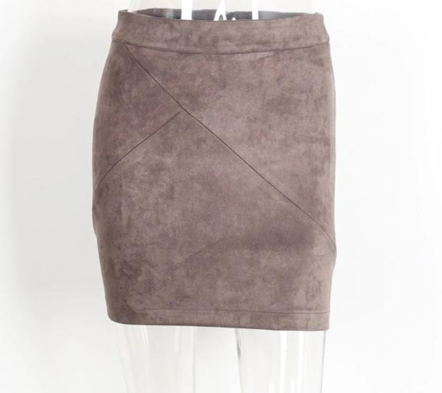Vintage Leather Suede Pencil Skirt - LEPITON