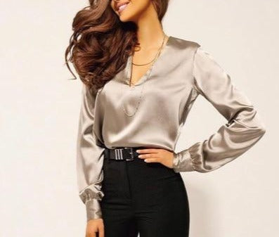 V-Neck Satin Long Sleeve Blouse - LEPITON
