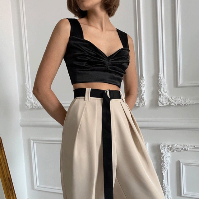 Ruched Satin Sleeveless Crop Top - LEPITON