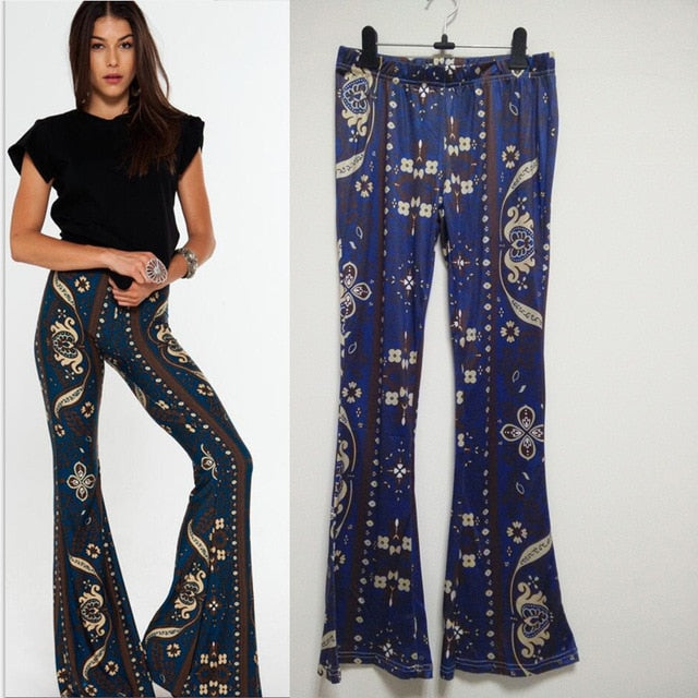 Striped Printed Boho Flare Pants - LEPITON
