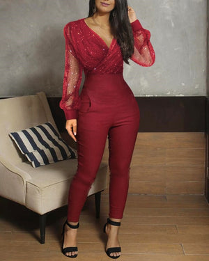 Sheer Mesh Glitter Ruched Wrap Jumpsuit - LEPITON