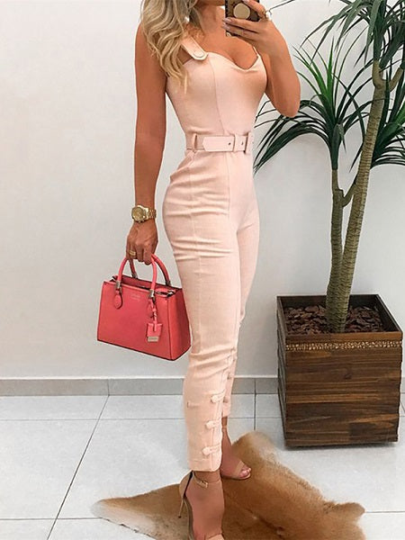 Slim Fit V-Neck Sleeveless Jumpsuit - LEPITON