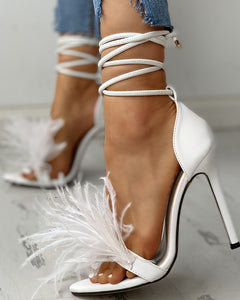 Feather Suede Open-Toe Heeled Shoes
