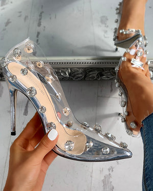 Transparent Studded Thin Heels - LEPITON