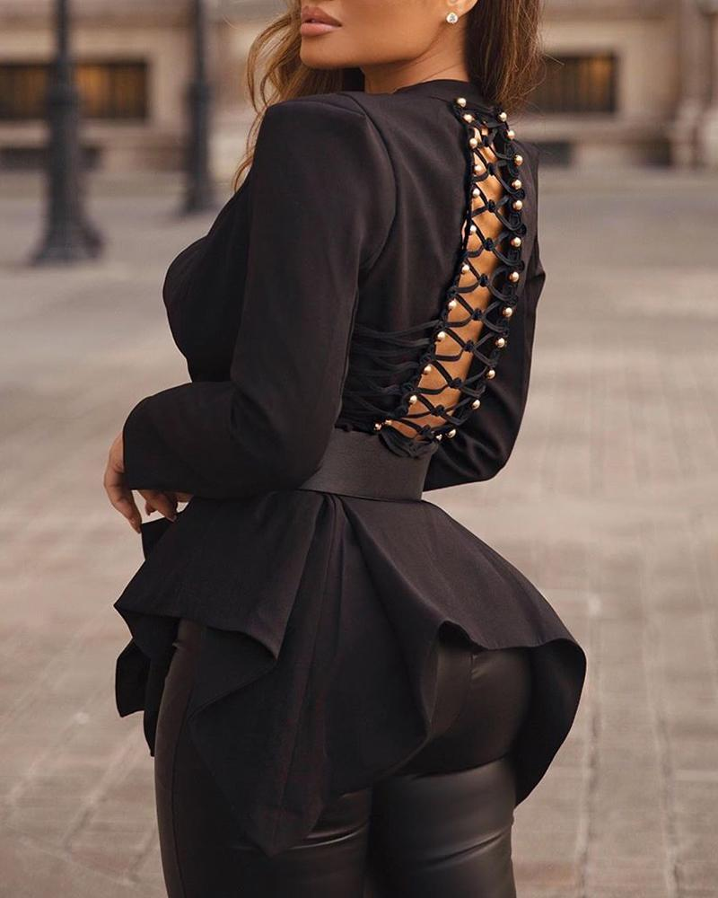 Backless Lace-Up Blouse with Belt