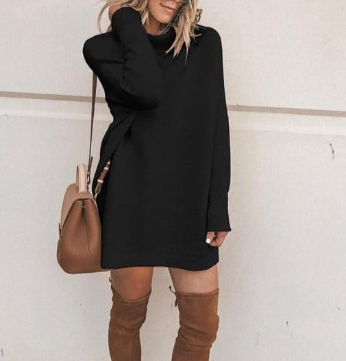Long Sleeve Knit High-Neck Pullover Solid Loose Straight Dress - LEPITON