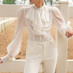 Chiffon Stand Collar Lantern Long Sleeve Top - LEPITON
