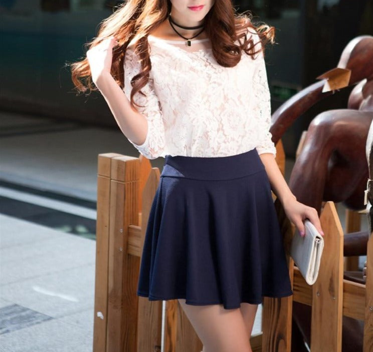 Pleated High-Waist Mini Skirt