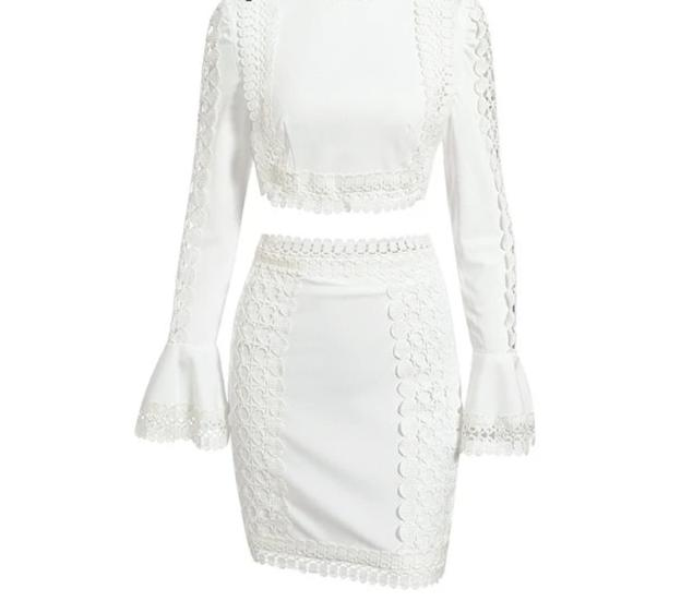 Vintage Elegant Flare Sleeve Lace Bodycon Two-Piece Mini Dress - LEPITON