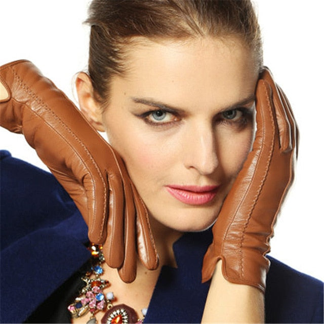 Elegant Genuine Lambskin Leather Thermal Gloves - LEPITON