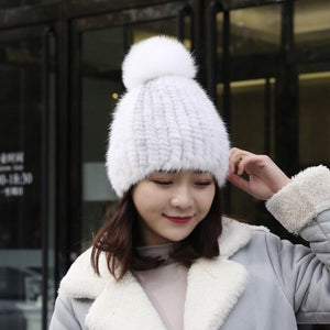 Real Mink Fur Beanies Cap With Fox Fur Pom Pom - LEPITON