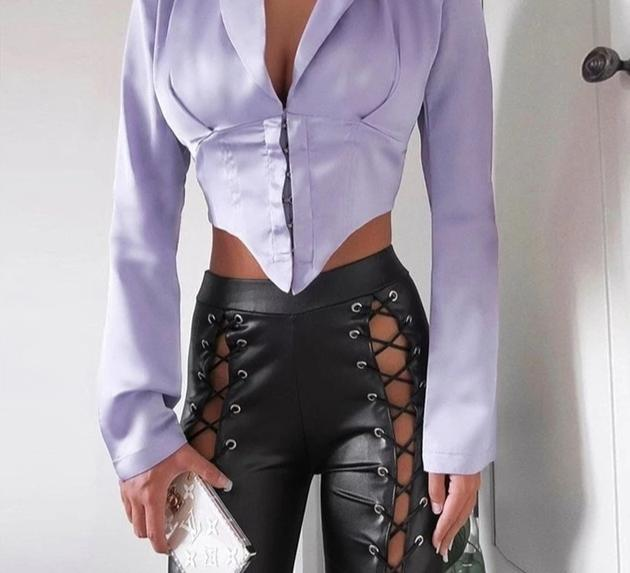 Long Sleeve Bodycon Deep V Neck Blazer