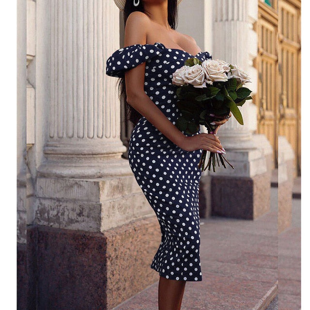 Elegant Bodycon Off-Shoulder Polka Dot High Waist Midi Dress - LEPITON
