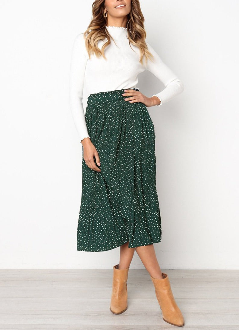 Chiffon High-Waist Pleated Maxi Skirt - LEPITON