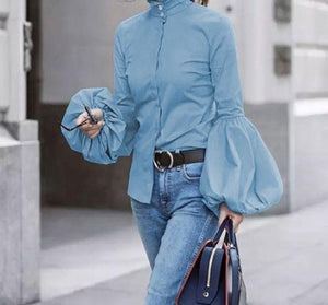 Long Lantern Sleeve Solid Blouse - LEPITON