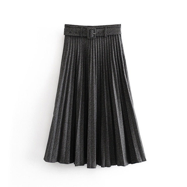 High-Waist Pleated Skirt with Belt - LEPITON