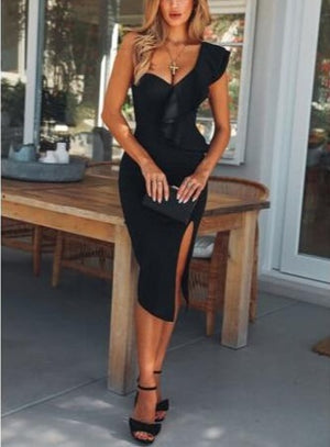Bandage Bodycon Sleeveless One Shoulder Ruffle Side Slit Mini Dress - LEPITON
