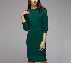 Ruched Draped Bodycon 3/4 Lantern Sleeve Pencil Dress - LEPITON