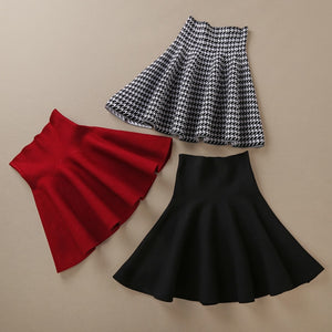 High Waist Pleated Flared Woolen Skirt - LEPITON