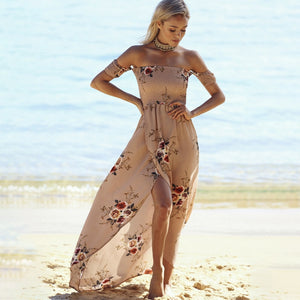 Bohemian Off-Shoulder High-Waist Chiffon Maxi Dress - LEPITON