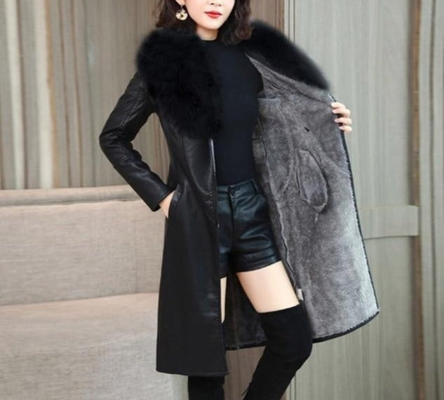 Velvet Warm Slim Big Fur Collar Long Leather Coat