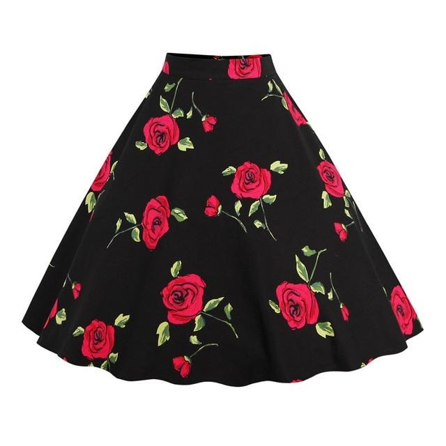Swing High-Waist Cotton A-Line Skirt