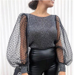 Elegant Knitted Patchwork Mesh Puff Sleeve Blouse - LEPITON