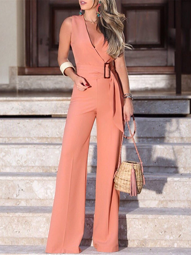 Sleeveless V-Neck Buckle Wide Leg Jumpsuit - LEPITON