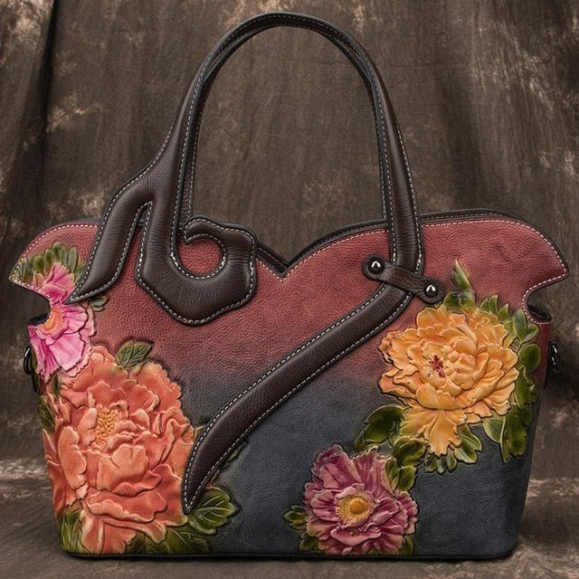 Handmade Embossed Retro Luxury Genuine Leather Handbag - LEPITON