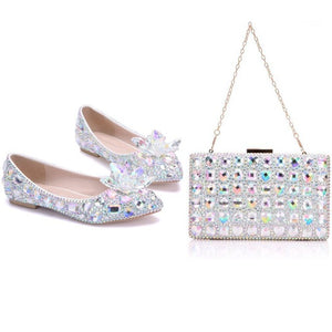 Rhinestone Flats with Matching Bag