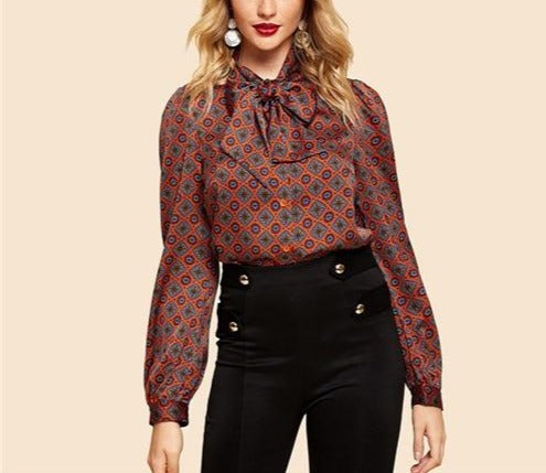 Rust Button Front Tie Neck Tribal Long Sleeve Blouse - LEPITON
