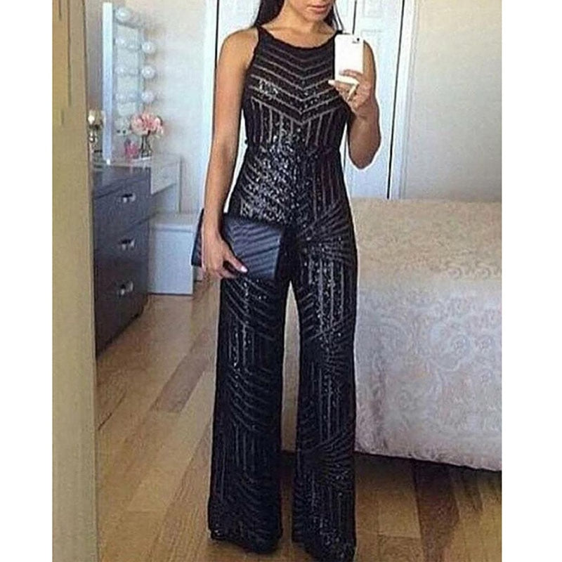 Elegant Sequins Sleeveless Wide Leg Jumpsuit