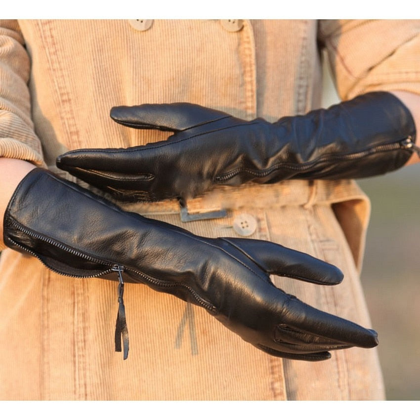 Genuine Sheepskin Leather Zipper Thermal Gloves - LEPITON