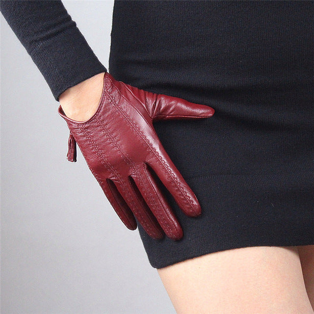 Genuine Goatskin Leather Short Style Driving Touchscreen Gloves - LEPITON